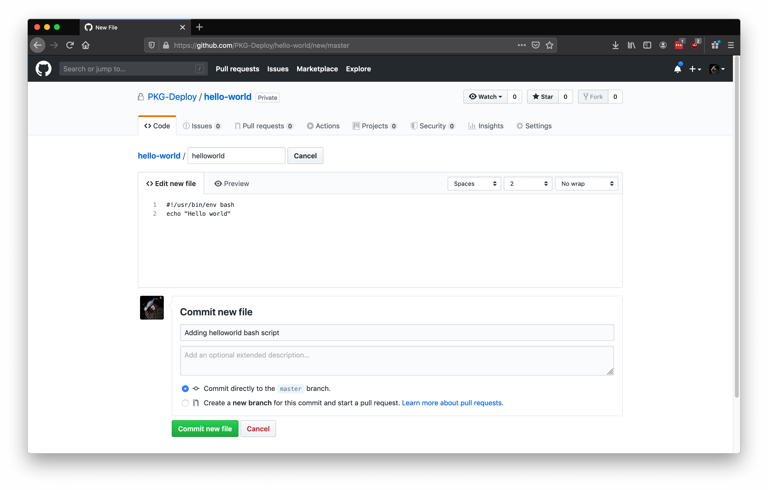 Screenshot of Github's create new file page