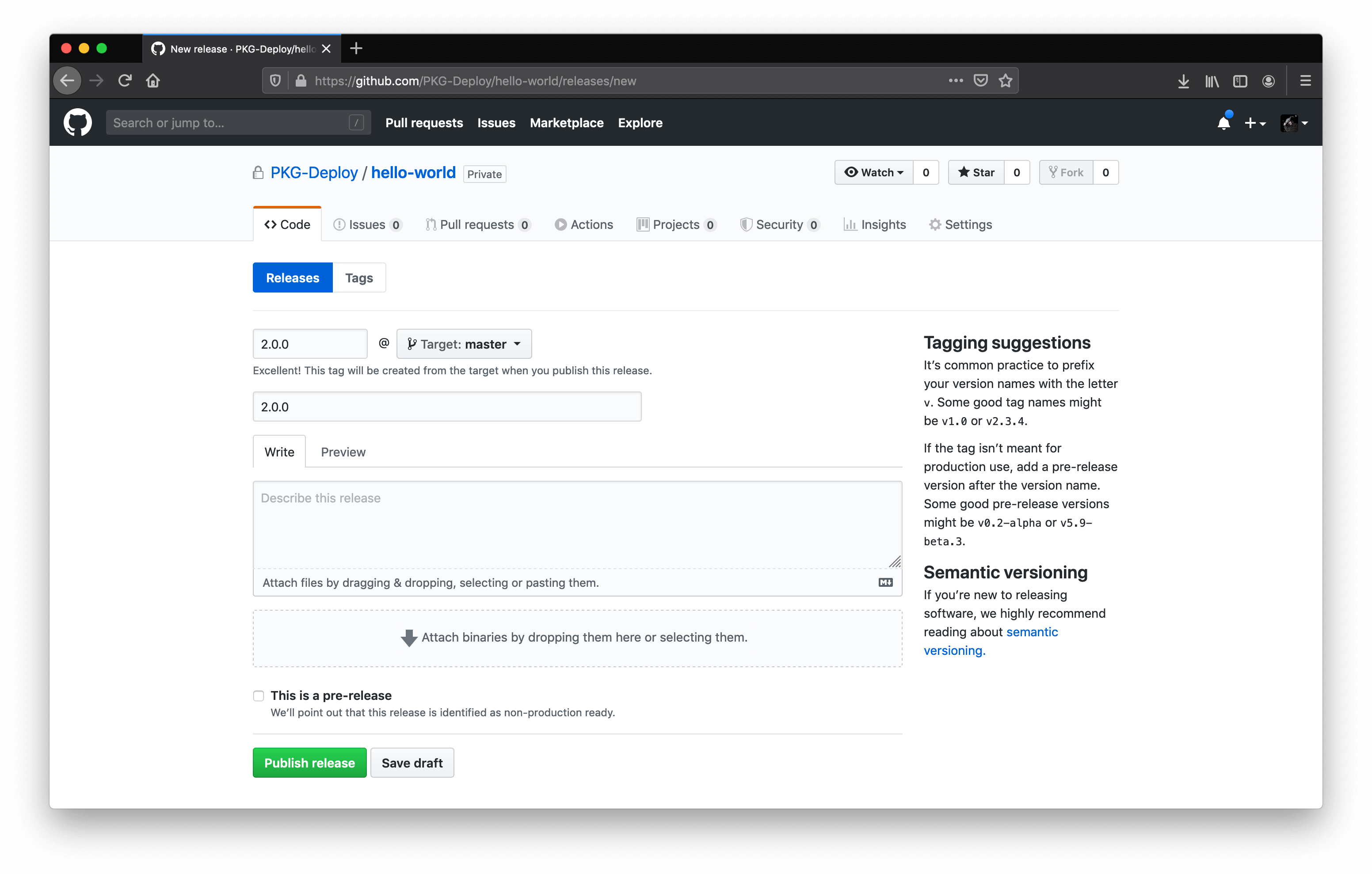 Screenshot of Github's draft new release page