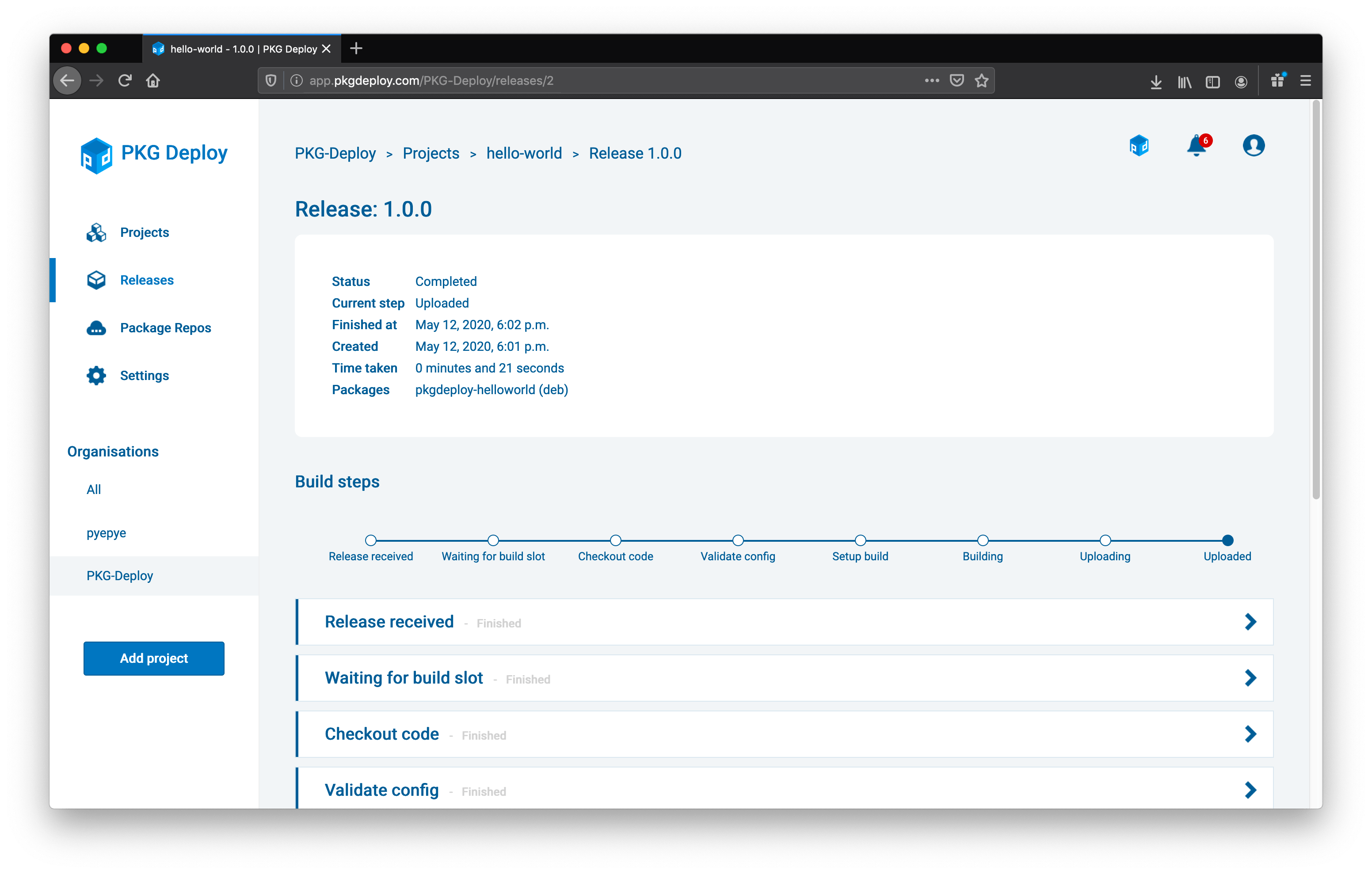 Screenshot of the PKG Deploy release page