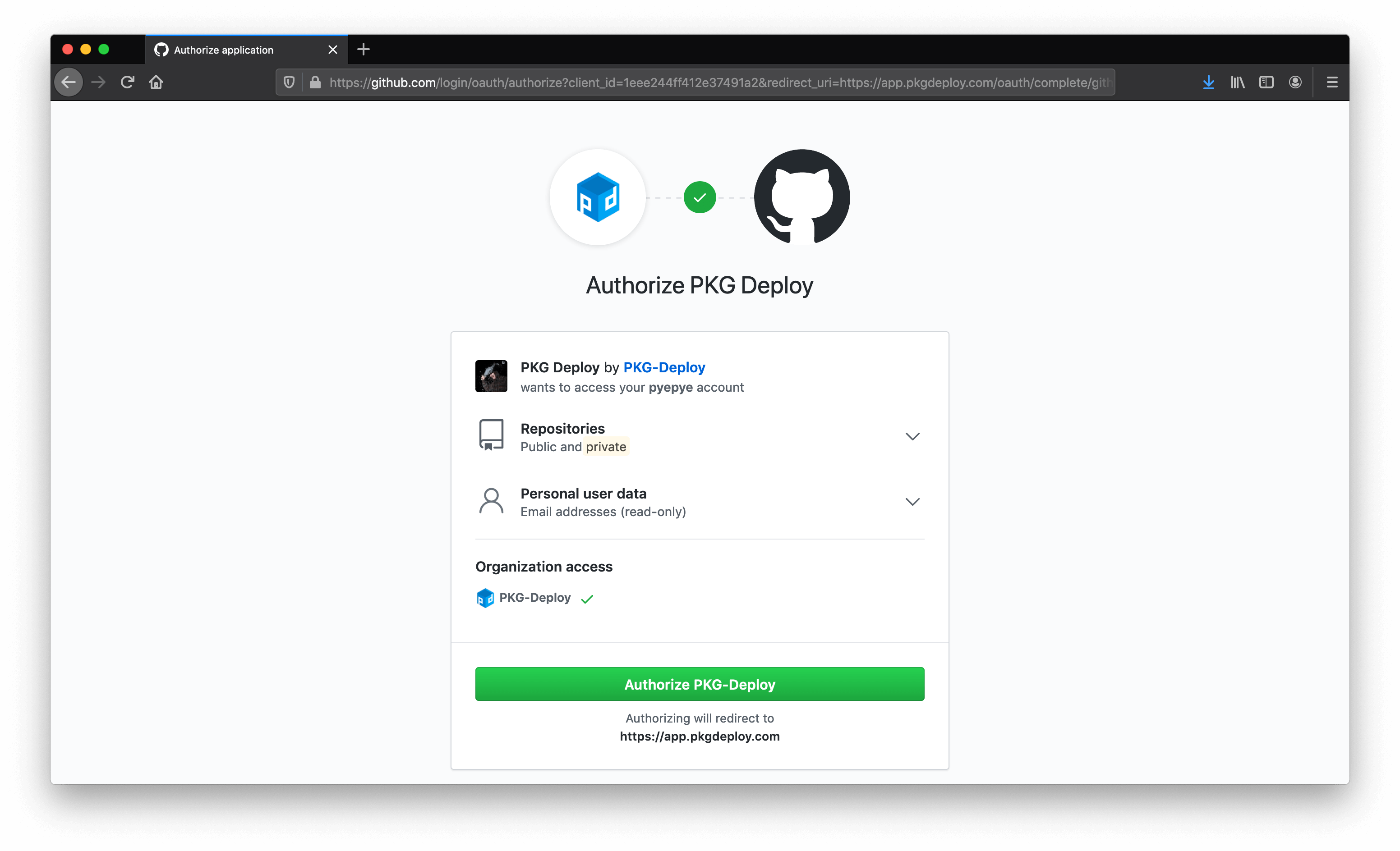 Screenshot of Github authentication for PKG Deploy