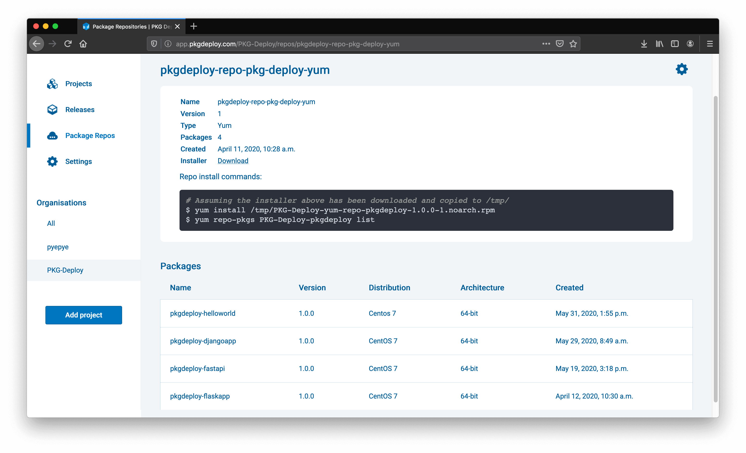 Screenshot of the PKG Deploy package repo page